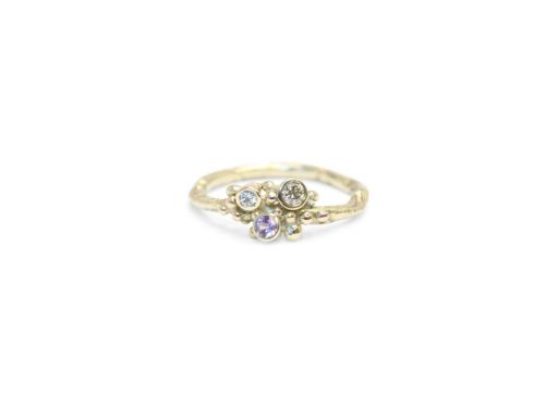 Gesmolten ringen – Roze saffier en diamant